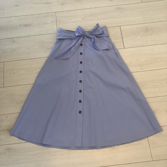 Midi button down skirt with bow